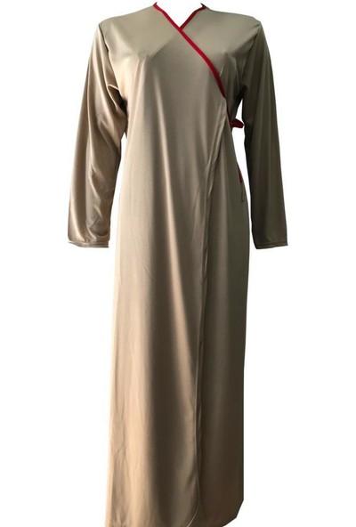 Hazal Namaz Elbisesi Softjarse Bağlamalı Kırmızı Biyeli Model Krem