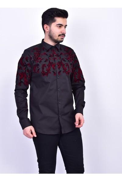 D&A Siyah Erkek Kırmızı Desenli Classic Gömlek GM02