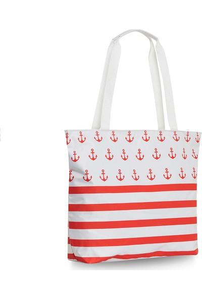 Gnc Design Beyaz Kırmızı Plaj Çantası
