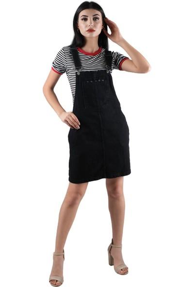 Şimal Salopet Siyah Kot Elbise