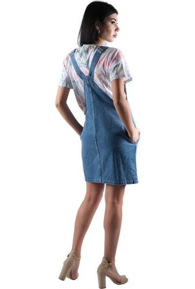 Şimal Salopetli Mavi Kot Elbise