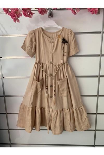 Dandini Otantik Naturel Aerobin İp Kemerli Kız Çocuk Elbise