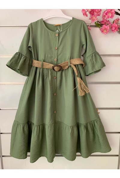Dandini Otantik Naturel Aerobin Kumaş Kemerli Kız Çocuk Elbise