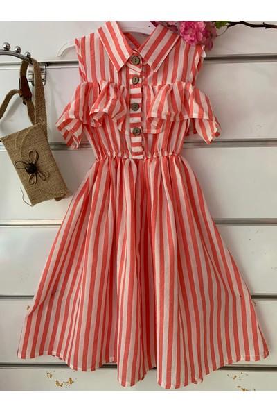 Dandini Çizgili Fırfırlı Çantalı Elbise