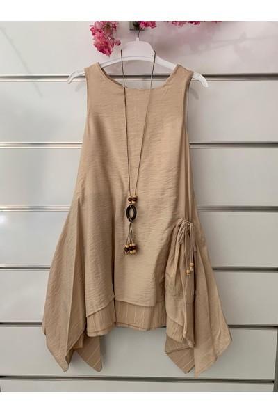 Dandini Otantik Naturel Aerobin Kumaş Kolyeli Kız Çocuk Elbise