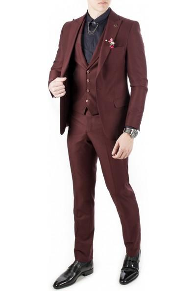 Deepsea Bordo İtalyan Kesim Tek Düğme Slim Fit Takım Elbise