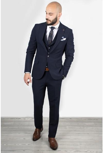 Deepsea Lacivert Parlak Likralı Slimfit 3'lü Takım Elbise