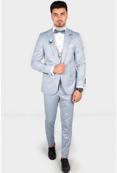 Deepsea Mavi Açık Kendinden Çizgili Desenli Cep Kapaklı Çift Yırtmaç Takım Elbise