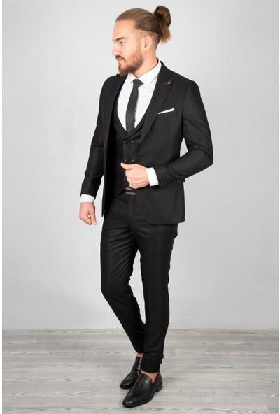 Deepsea Siyah Tek Düğmeli Takım Elbise