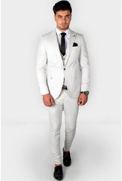 Deepsea Taş Kendinden Çizgili Desenli Cep Kapaklı Çift Yırtmaç Takım Elbise
