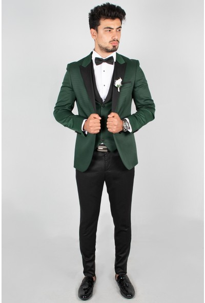 Deepsea Yeşil Nokta Desenli Şifon Yaka Biyeli 3'lü Takım Elbise