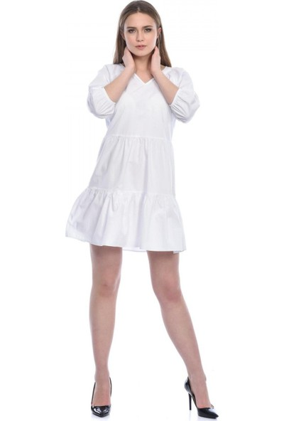Parkkaron Kadın Volanlı V Yaka Kısa Elbise