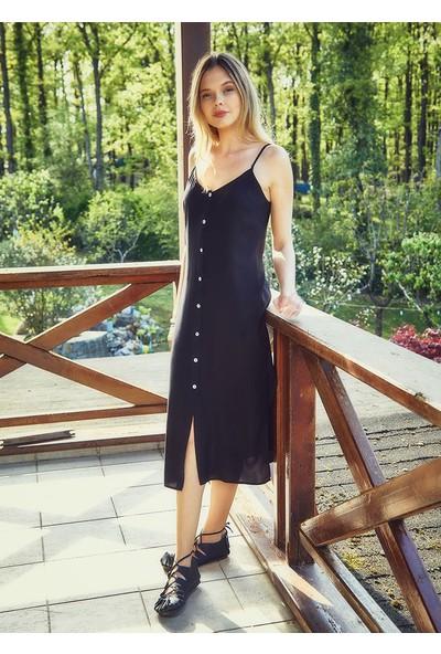 Clandestino Bohem Tarz Askılı Düğme Detaylı Elbise Siyah