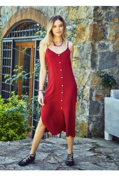 Clandestino Bohem Tarz Askılı Düğme Detaylı Elbise Kırmızı
