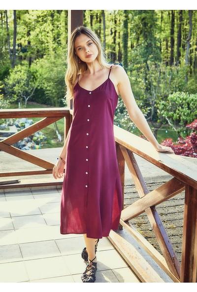 Clandestino Bohem Tarz Askılı Düğme Detaylı Elbise Mor