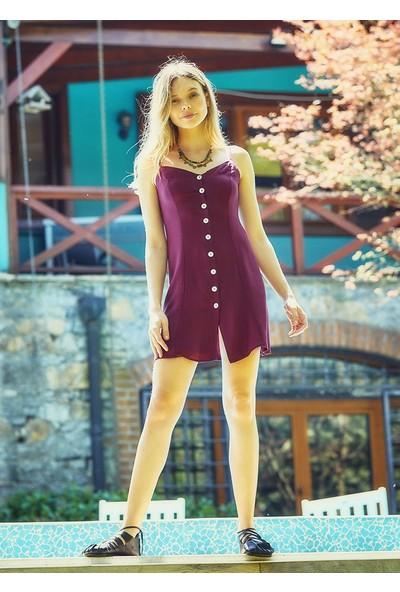 Clandestino Bohem Tarz Askılı Mini Elbise Mor