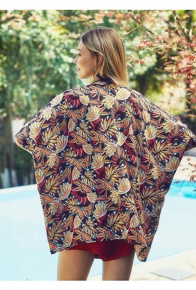 Clandestino Etnik Desenli Kimono Siyah