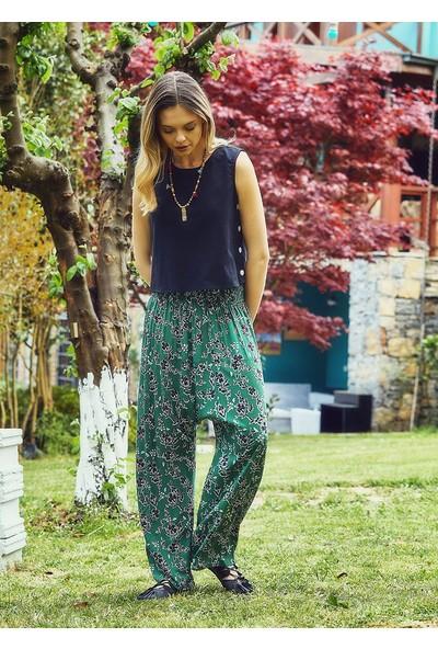 Clandestino Otantik Desenli Bol Paça Şalvar Pantolon Yeşil