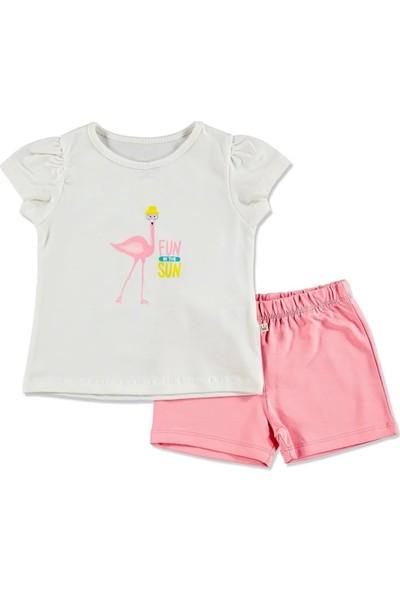 For My Baby Yaz Kız Bebek Flamingo Tshirt Şort 2'li Takım