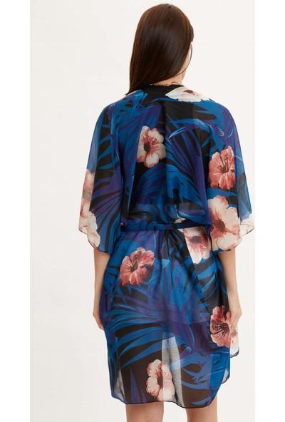 Defacto Renkli Çiçek Desenli Kimono