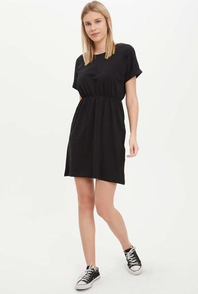 Defacto Beli Büzgülü Slim Fit Elbise