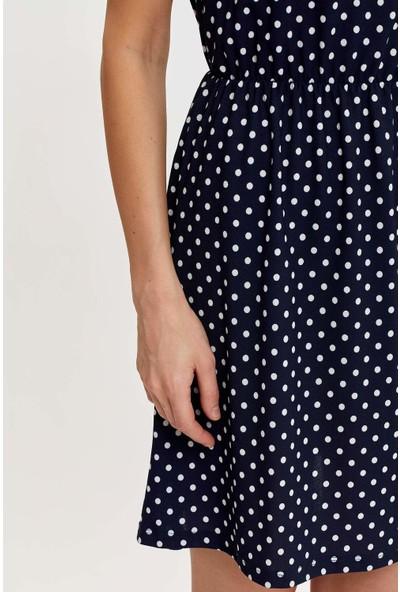 Defacto Çiçek Desenli Belden Bağlama Detaylı Örme Elbise