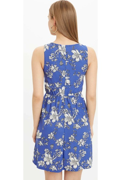 DeFacto Çiçek Desenli Beli Lastikli Örme Elbise M9053AZ20SM