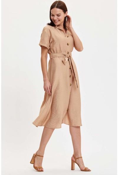 DeFacto Düğme Detaylı Kemerli Dokuma Elbise N0543AZ20SM