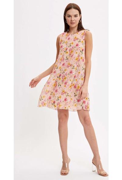 Defacto Çiçek Desenli Dokuma Elbise