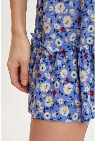 Defacto Çiçek Desenli Örme Elbise