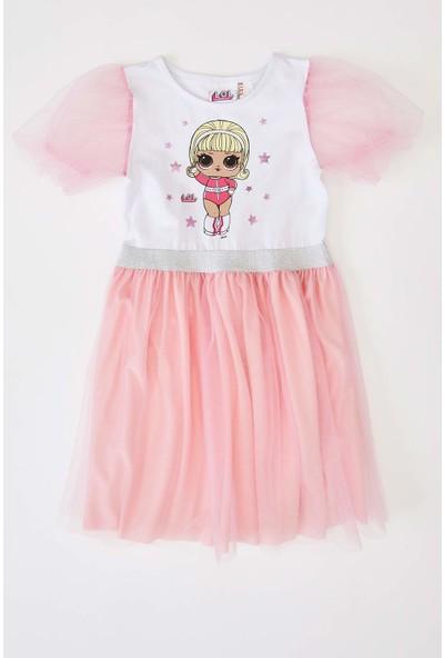 Defacto Kız Çocuk Lol Lisanslı Balon Kol Elbise