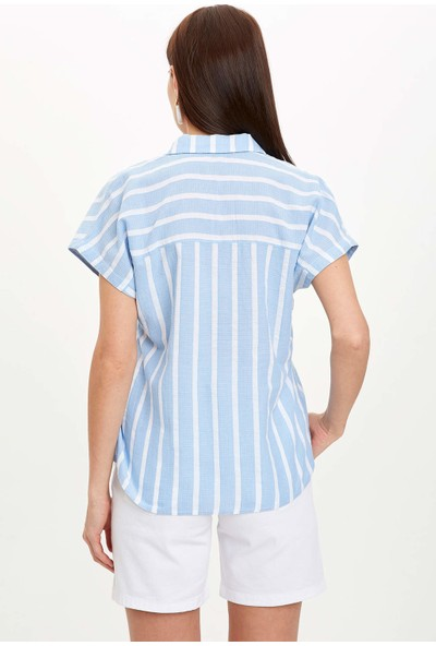 Defacto Çizgili Kısa Kollu T-Shirt