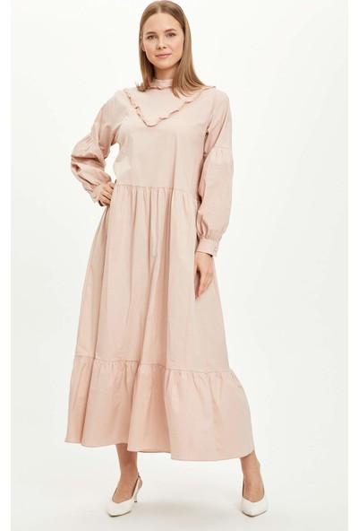 Defacto Fırfırlı Dokuma Elbise