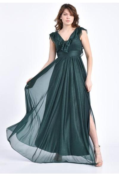 Modkofoni V Yaka Önden Yırtmaçlı ve Simli Tül Yeşil Abiye Elbise