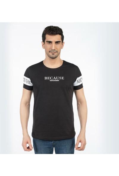 Bysorex O Yaka Kolu Baskili T-Shirt- Siyah
