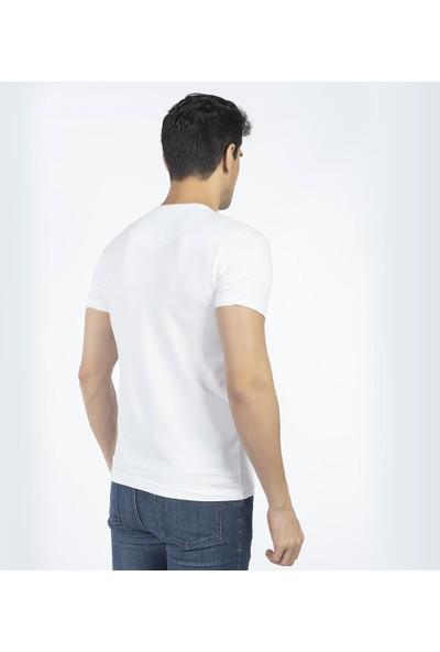 Bysorex V Yaka T-Shirt- Beyaz