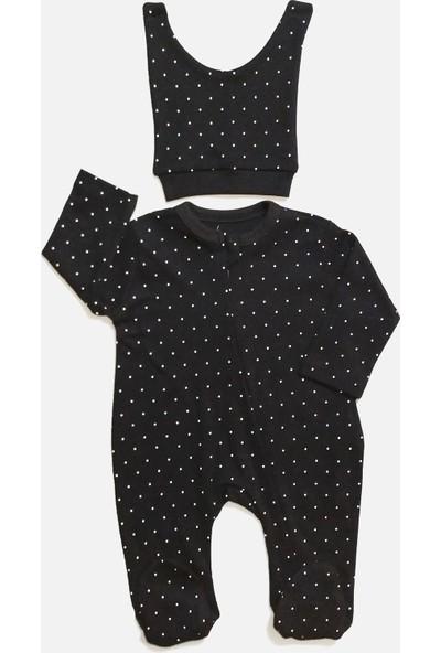 Fantastic Baby Puantiyeli Gizli Fermuarlı Şapkalı Kız Bebek Tulum