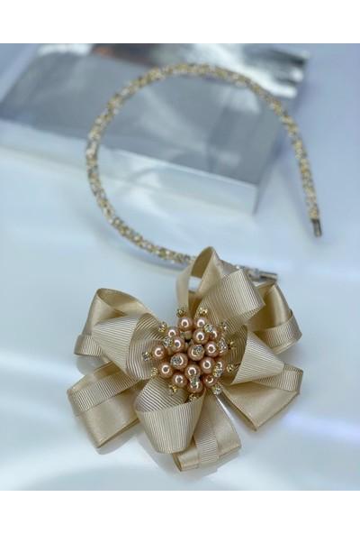 Queen Accessories Açık Kahve Inci Broşlu Luxury Anne Kız Çocuk Hediye Kına Düğün Tak Çıkar Taç