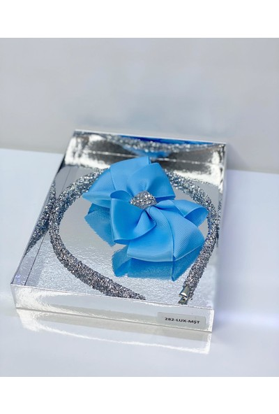 Queen Accessories Mavi Şerit Taşlı Luxury Anne Kız Çocuk Hediye Kına Düğün Tak Çıkar Taç