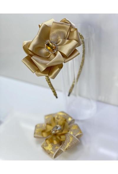 Queen Accessories Gold Kristal Taşlı Luxury Anne Kız Çocuk Hediye Kına Düğün Tak Çıkar Taç