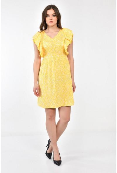 Parkkaron Kadın Çiçek Desenli Volandetay Kolsuz Dizüstü Elbise