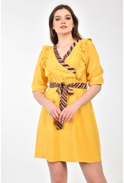 Parkkaron Kadın Degaje Yaka Belden Bağlamalı Volan Detaylı Elbise