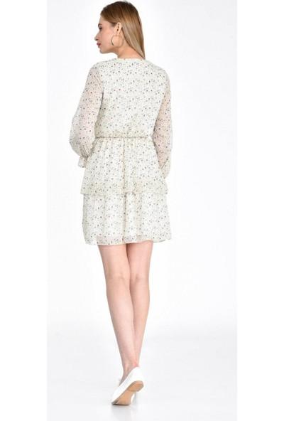 Parkkaron Kadın Degaje Yaka Çiçek Desenli Volanlı Şifon Elbise