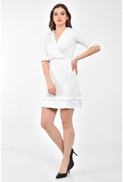 Parkkaron Kadın Degaje Yaka Eteği Volanlı Diz Üstü Elbise