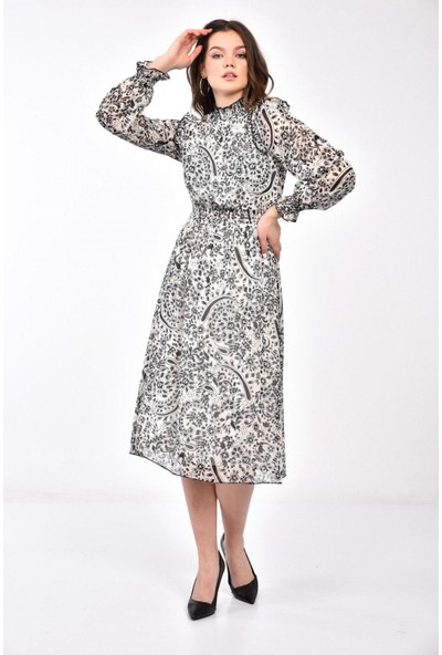 Parkkaron Kadın Omuzları Fırfırlı Gipe Detay Şifon Elbise