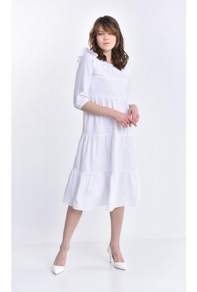 Parkkaron Kadın Volan Detay Parçalı Elbise
