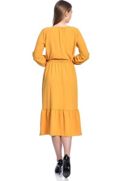 Parkkaron Kadın Volan Detaylı Bağcıklı Elbise