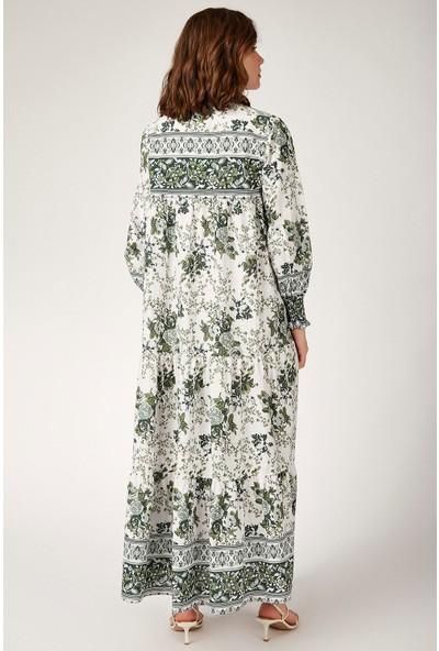 Bigdart 1947 Kol Büzgülü Robalı Çiçek Desenli Keten Elbise
