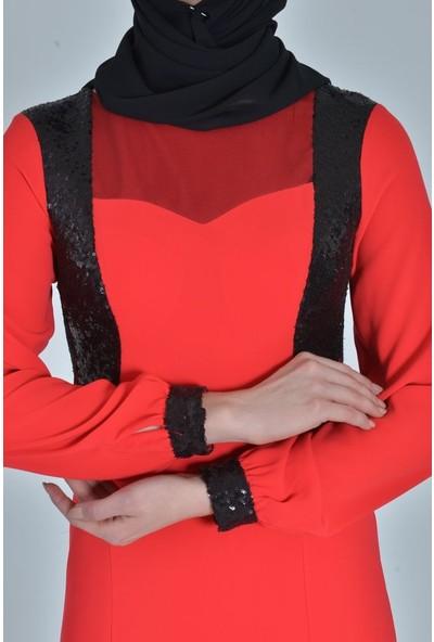 Devri Sultan Arka Ortası Payetli Ve Danteli Tesettür Abiye Kırmızı Elbise