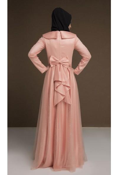 Devri Sultan Arkası Fiyonklu Griter Simli Tüllü Tesettür Abiye Somon Elbise